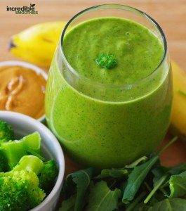 Banana-Peanut Butter Green Smoothie Recipe with Broccoli