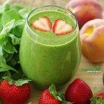 Almond-Peach-Strawberry Green Smoothie Recipe with Chia Seeds