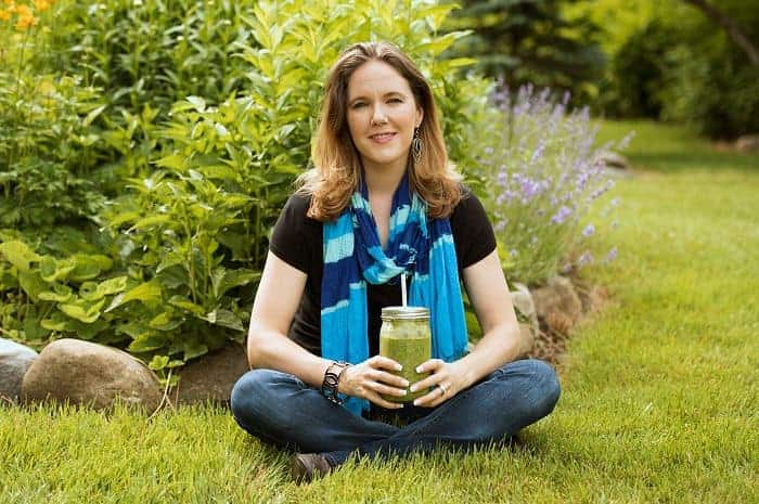 Tracy with a green smoothie.