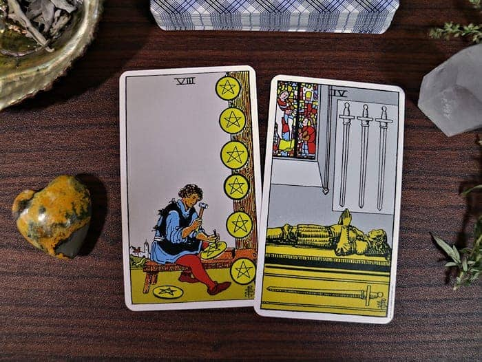 Eight of Pentacles + Four of Swords Meaning - DavyandTracy com