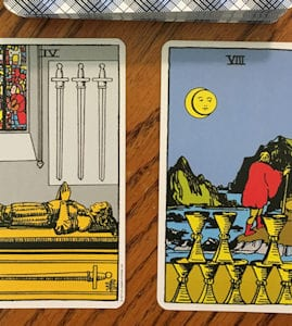 Four of Swords + Eight of Cups Meaning