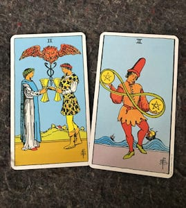 2 Of Cups & 2 Of Pentacles Meaning (Tarot Tuesday)
