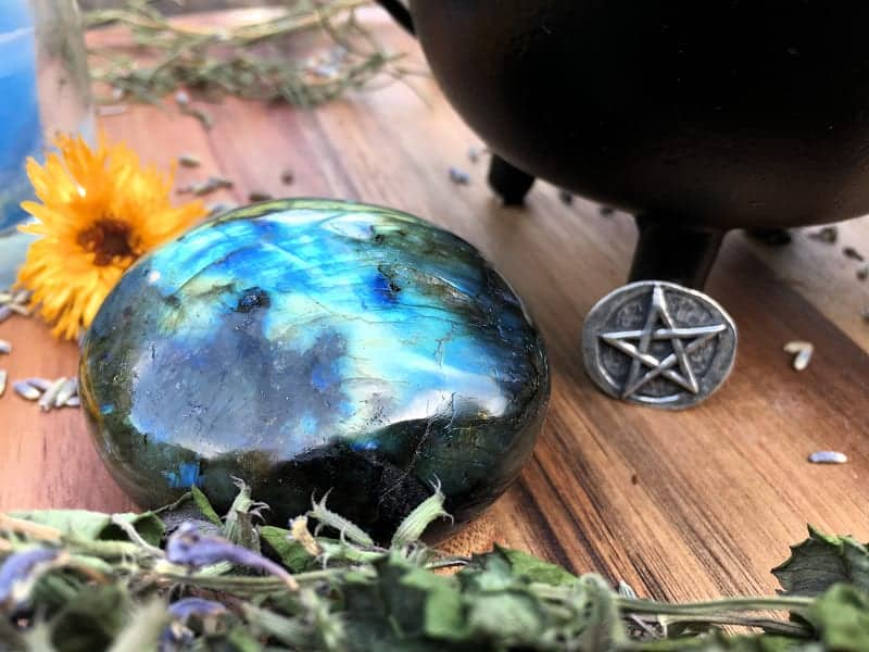 Labradorite is one of my favorite crystals to use in my daily green witchcraft practice.