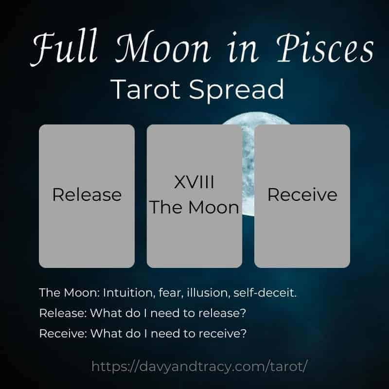 Full Moon in Pisces tarot spread.