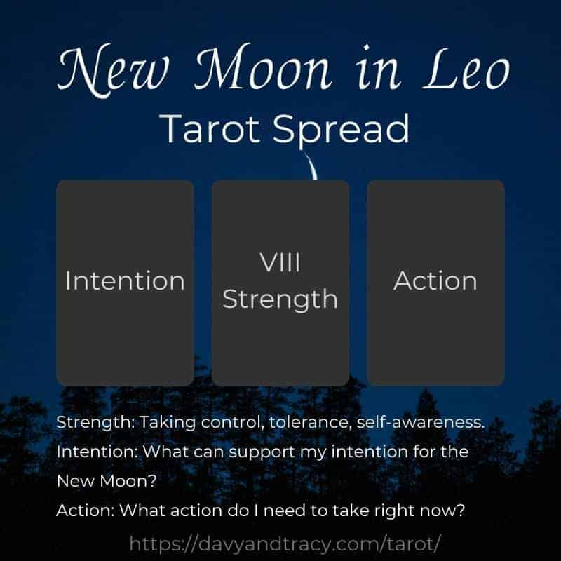 New Moon in Leo tarot spread.