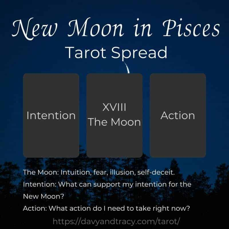 New Moon in Pisces tarot spread.